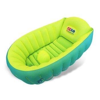 Accesorios de piscina, bañera, cojín de bañera de niño, bañera plegable portátil cálida winner con bomba de aire para baño de bebé