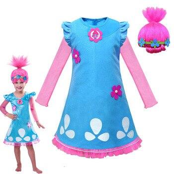 Vestidos de princesa para niños, disfraz de Trolls de dibujos animados, disfraz con peluca, manga larga, línea A, Linda Ropa para Niñas