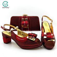 Shoes Matching-Bags Italian-Design Women with for Wedding Wine-Color Nigerian And Bag-Set