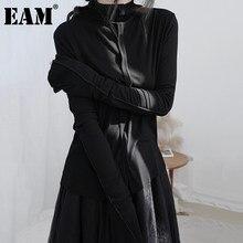EAM – T-shirt à manches longues et col roulé pour femme, court et fendu, à la mode, 1DB367, collection printemps-automne 2021