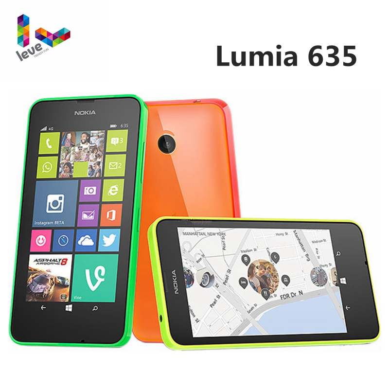 Original Nokia Lumia 635 4G LTE Unlock Cell Phone Windows OS 4.5 Quad Core 8G ROM 5.0MP WIFI GPS Mobile Phone image