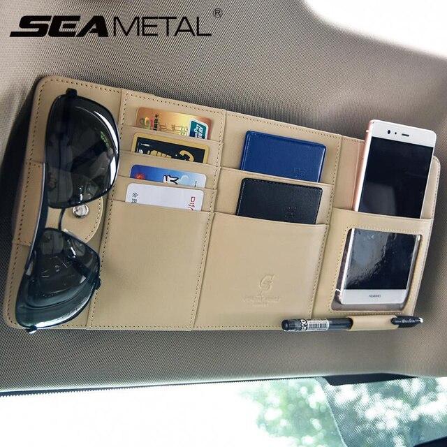 pare-soleil de voiture Sac de rangement de pare-soleil de voiture, organisateur universel de voiture, boîte de rangement en cuir Pu pour cartes, billet, rangement de clés 1