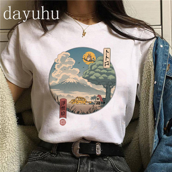 90s Totoro T Shirt Harajuku Kawaii Women Ullzang Sprited Away Tshirt Funny Manga T-shirt Studio Ghibli  Anime Top Tee Female 1