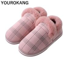 лучшая цена Winter Women Shoes Warm Plush Female Flats Indoor Bedroom Floor Footwear Slip-on Casual Flock Gingham Lover Cotton Home Slippers