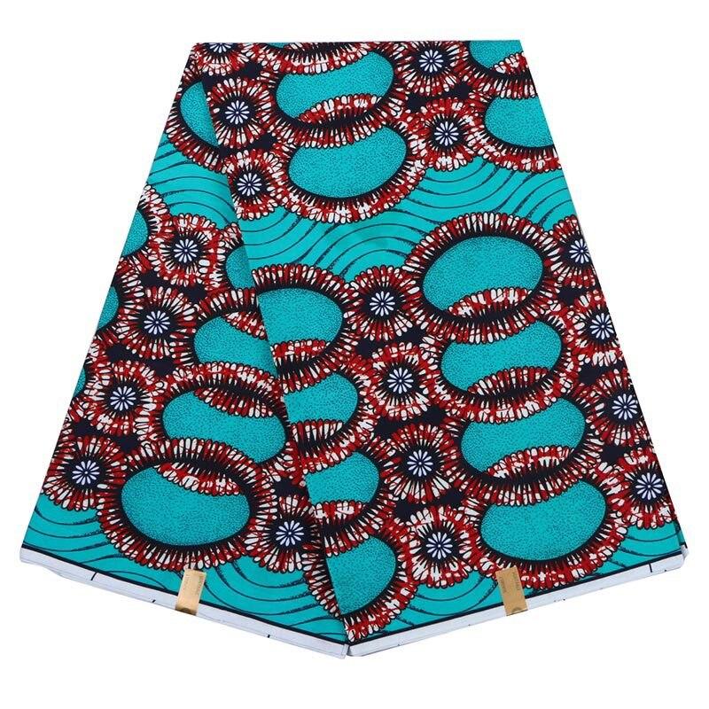 Blue 6 Yards Wholesale High Quality Ankara African Wax Print Fabric Fashion African Ankara Wax Fabric Material Width 110cm