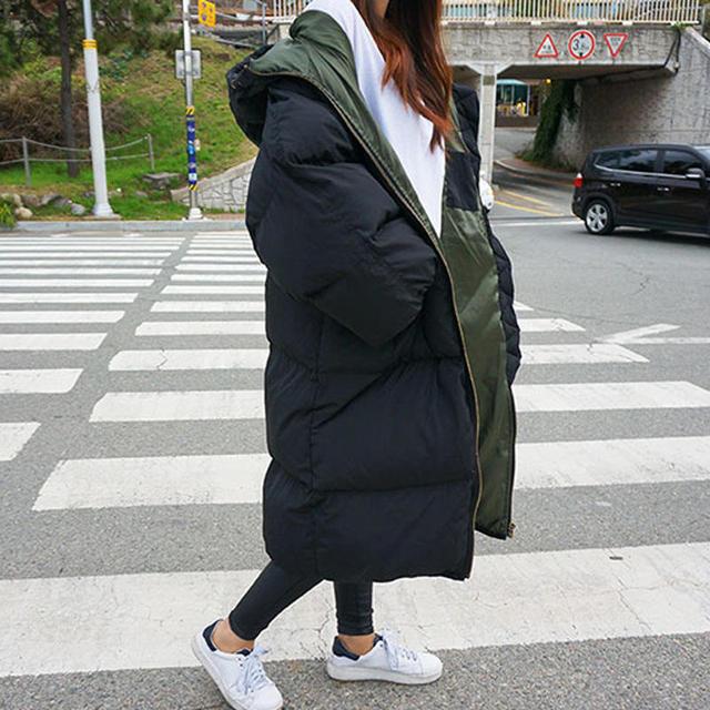 Jaqueta feminina de parka, casaco quente, grosso e longo de algodão, para outono e inverno, com capuz, de tamanho grande, q1933