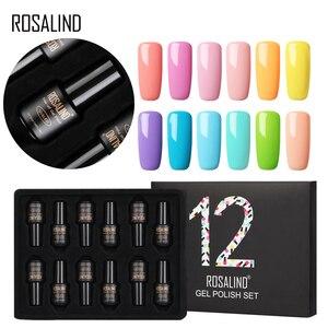 (12 шт/комплект) ROSALIND набор гель-лаков для ногтей Одноцветный долговечный отмачиваемый маникюрный лак для наращивания ногтей акриловый набо...