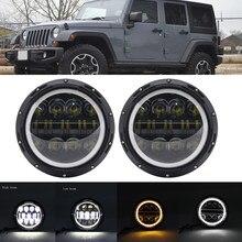 2pcs Car LED 7 Inch Round Headlight Conversion Kit For Beetle Classic Lada Niva URBAN For Jeep Wrangler for Suzuki Samurai