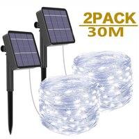 Led al aire libre guirnaldas de luces alimentadas por energía Solar de vacaciones de Navidad para Navidad jardín boda fiesta de vacaciones y(1/2)