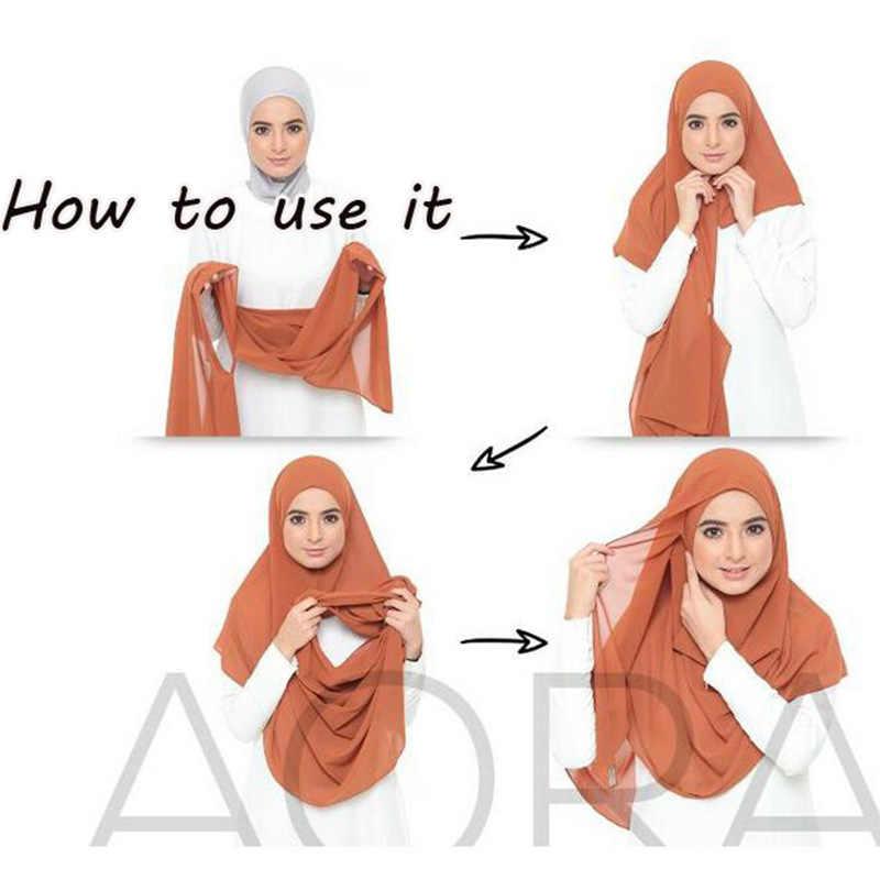 2019 delle donne di jersey di cotone sciarpa pianura istante Testa hijab dell'involucro di colore solido scialli foulard femme musulmano hijab negozio pronto a usura
