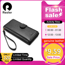 REALER women wallet long purse genuine leather female purse with wristlet strap phone pocket zipper coin pocket for credit card(China)
