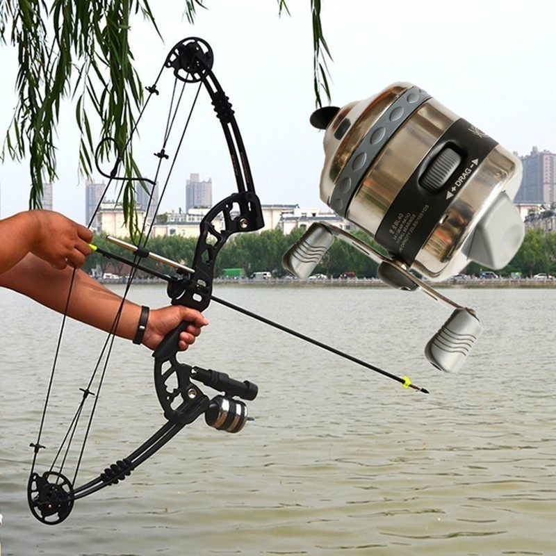 Shooting Fish Coil Stainless Steel With Line Bow Slingshot Catapult Harpoon Gun Fishing Reel Casti Spinning Molinete Pesca Carp