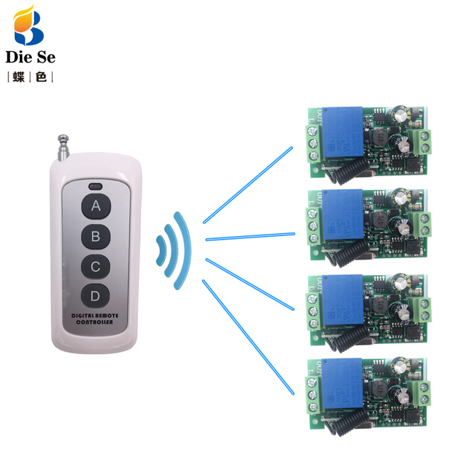 433MHz Universal Remote Control Switch AC 85V 250V 4 CH Relay Receiver Module 4 Button Remote Control Garage Light Lamp Switch
