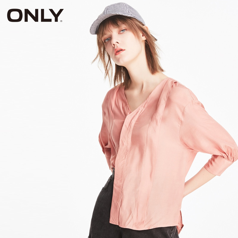 ONLY Women's Loose Fit Pure Color V-neckline Shirt  119231507