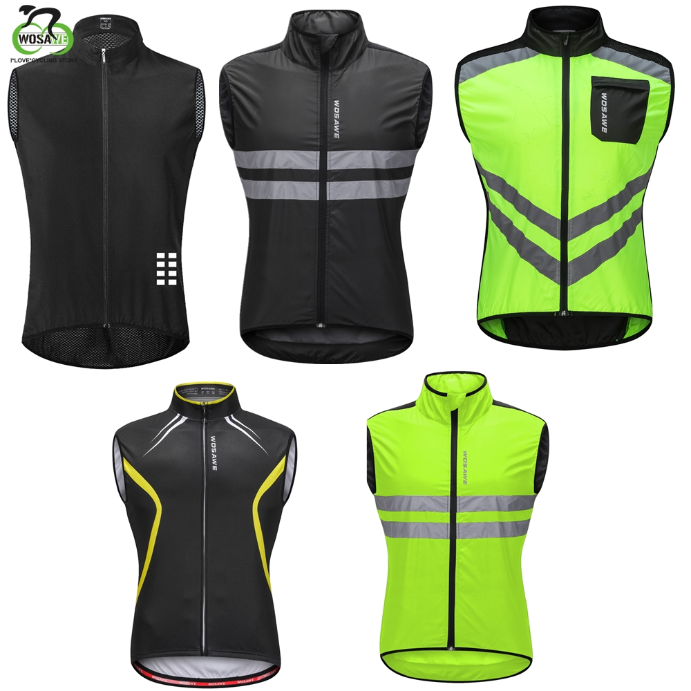 WOSAWE High Visibility Reflective Clothes Cycling Windproof Bicycle MTB Coat Road Jerseys Sports Bike Sleeveless Safety Vest