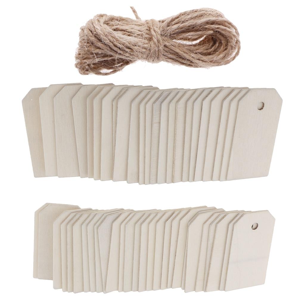 Etiqueta de suspensão de madeira branca de 50 partes para a etiqueta do presente da festa de casamento com corda