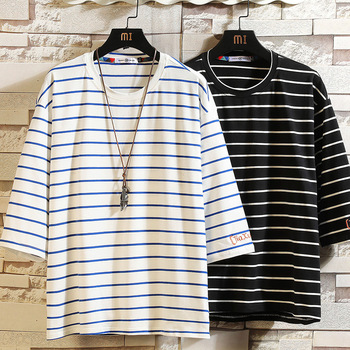 Short Sleeve T Shirt Men 2020 Summer Striped Tshirt Top Tees HIP HOP PUNK ROCK Fashion Clothes Plus Size M-4XL 5XL O NECK plus rolled tap sleeve surplice wrap striped top
