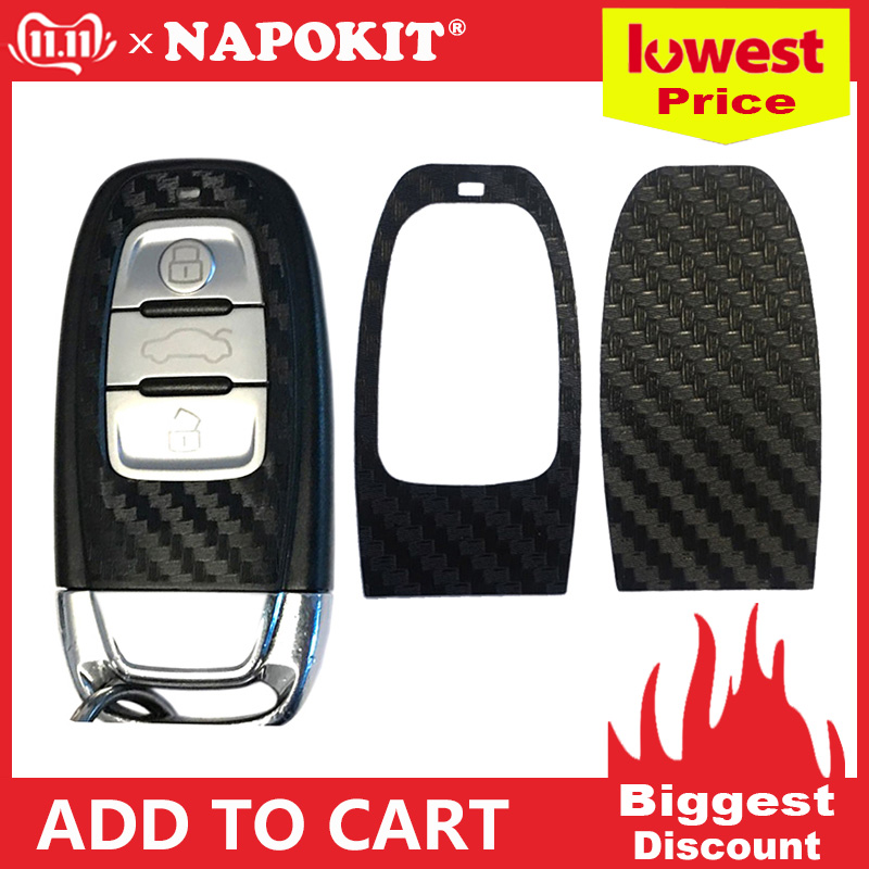 1Set Black Carbon Fiber Car Key Sticker for Audi A4 A6 RS4 A5 A7 A8 S5 RS5 8T Q5 S5 S6 Car Key Refitting Accessories-in Car Stickers from Automobiles & Motorcycles