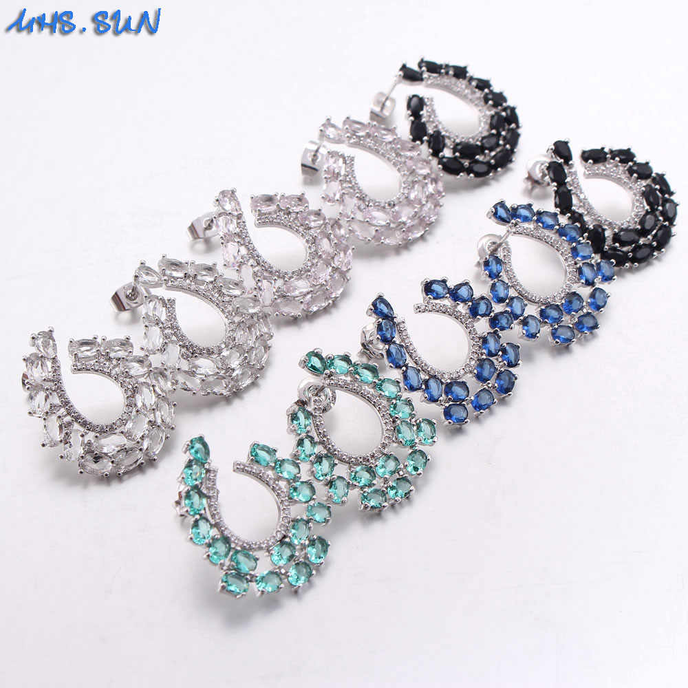 MHS.SUN Fashion Earrings New Girls Earing Luxury Blue/White Zircon Stud Earrings For Women Wedding Jewelry Earings Brincos