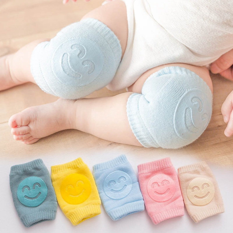 1Pair Soft Anti-slip Safety Crawling Elbow Cushion Knee Pad Semi-combed Cotton Terry Dispensing Baby Infant Born Toddler Kids