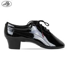 Zapatos de baile latino para hombre BD 424, suela dividida, modelo aerodinámico, charol brillante, zapatos de baile de salón, suela dividida, charol