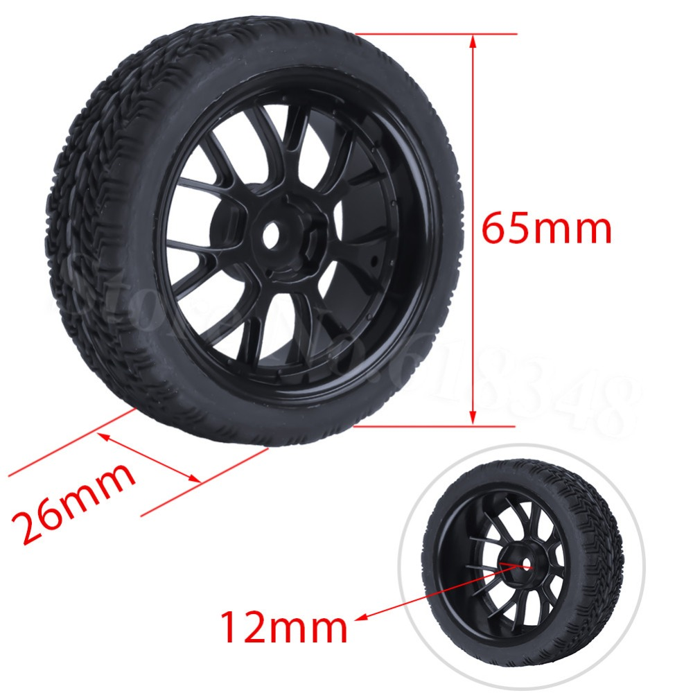 4x 26mm <font><b>Rally</b></font> Tyres Rubber On Road Flat Run Tires & <font><b>Wheels</b></font> Tyre For 1:10th Scale <font><b>RC</b></font> Model Car HSP Redcat HPI image