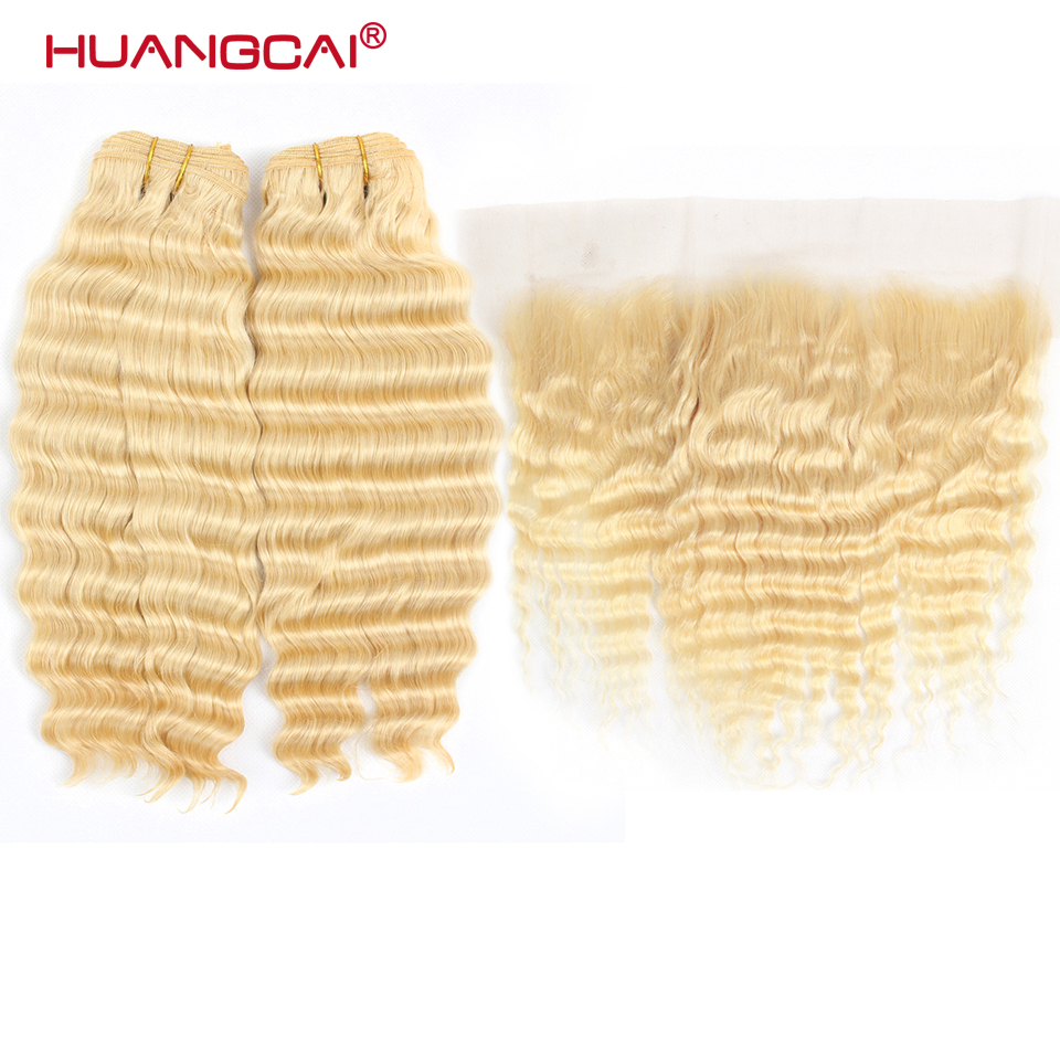 613 Bundles With Frontal Brazilian Deep Wave 2 Bundles With Closure Remy Human Hair Blonde Bundles With Frontal Closure image
