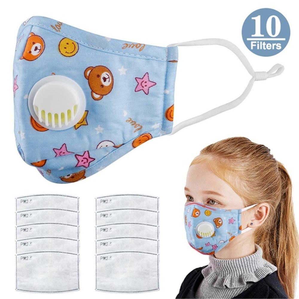 Children's Mask With Breathing Valve Anti-PM2.5 Haze Breathable Mask Anti-dust Filter Mask Respirator + 10 Mask Gasket