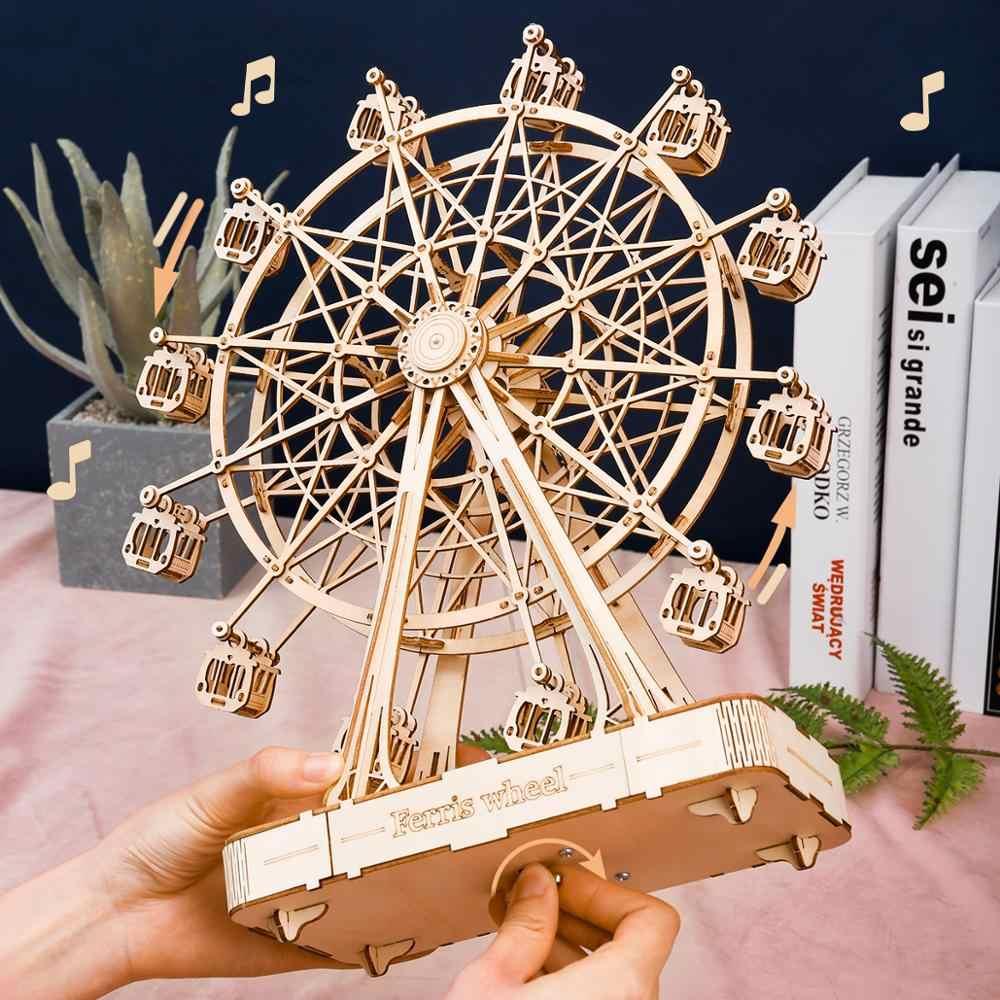 Robotime 232 sztuk obrotowy DIY 3D diabelski młyn drewniane Puzzle gry montaż pozytywka zabawki prezent dla dzieci nastolatki dorosłych TGN01