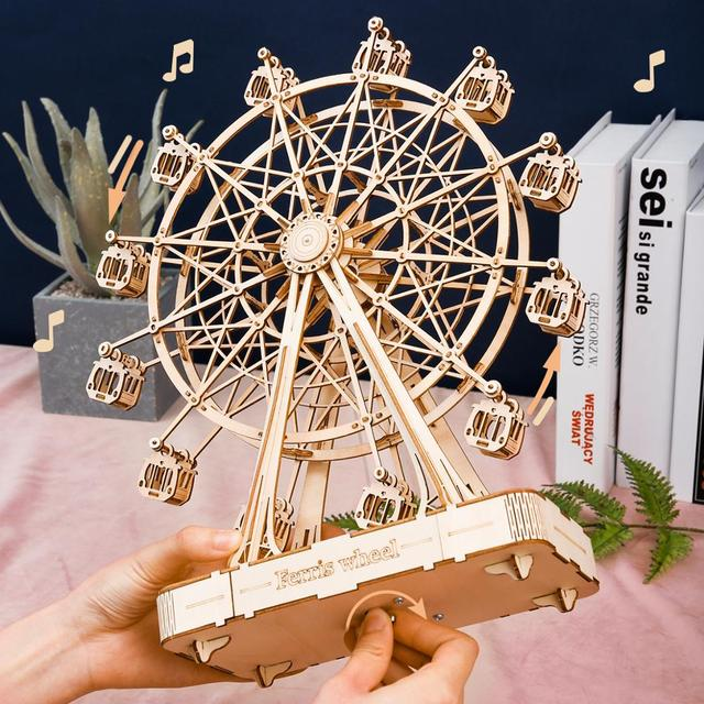 Robotime 232pcs Rotatable DIY 3D Ferris Wheel Wooden Puzzle Game Assembly Music Box Toy Gift for