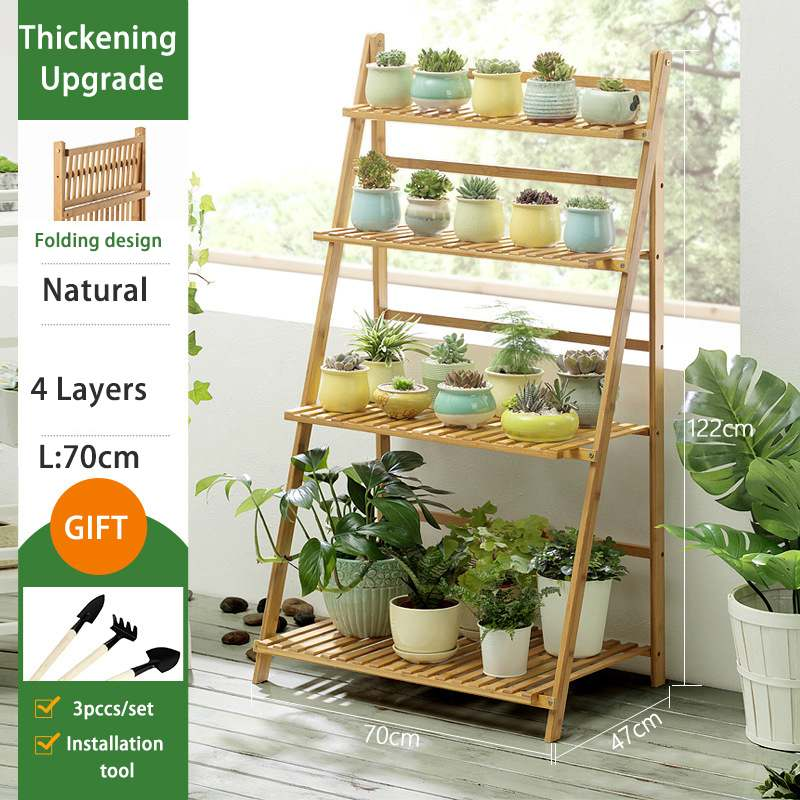 BambooWooden Foldable Plant Flower Floor Stand Shelves Rack Plant Flower Display Stand Shelf Storage Rack Outdoor Holder Garden