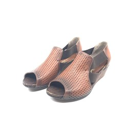 Womens Genuine Leather Summer Laser Cut Shoes Tan PLA49-523
