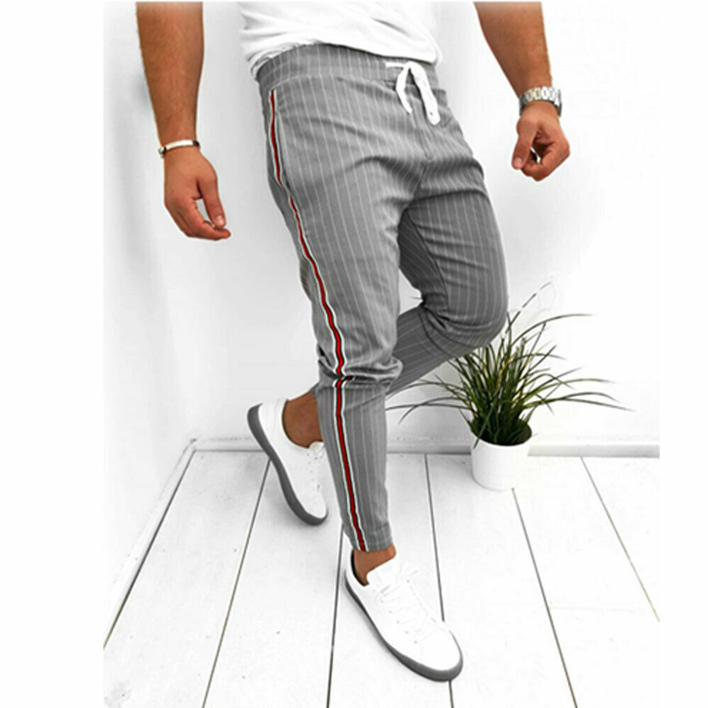 Men's Twill Jogger Pants Urban Hip Hop Harem Casual Trousers Side Striped Drawstring Slim Fit Pants 2019 Man Fashion Trousers