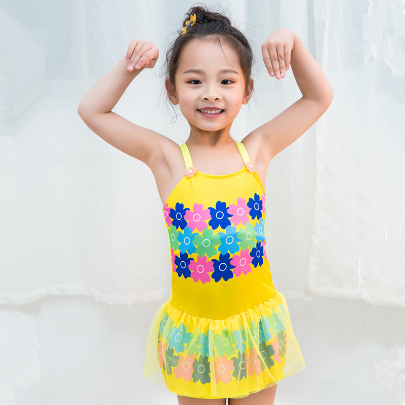 Girls New Style Dress Flowers Print Color Bright Beautiful Baby Girls Swimsuit Boxers Cute Swimwear
