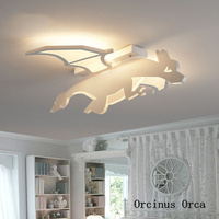 Nouveau feu respirant dragon plafonnier garçon chambre enfants chambre lampe dessin animé créatif led dinosaure plafonnier livraison gratuite|Lampes à suspension| |  -