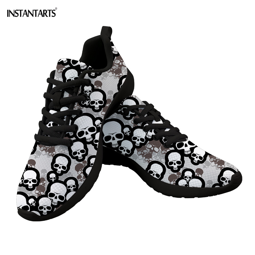 Cheap INSTANTARTS Gotic Mesh Women Sneakers Sugar Skull Printed Casual Flat Shoes for Ladies Girls Comfortable Lace Running Footwear