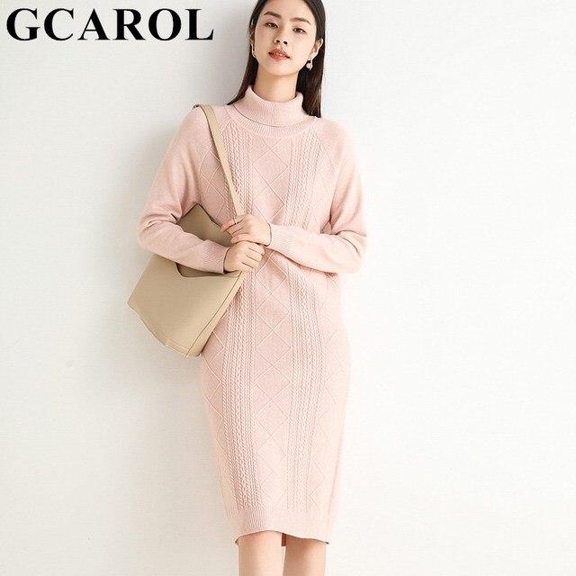 GCAROL Autumn Winter Women Turtleneck Cashmere Dress Twist Floral Medium Length Warm Elegant Minimalism Knit Bottomed Dress 2XL 2