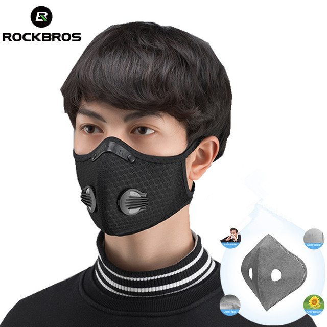 ROCKBROS Cycling Face Mask Filter Anit-fog Breathable Dustproof Bicycle Respirator Sports Protection Mouth-Muffle Dust Mask