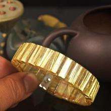16x6mm Natural Titanium Rutilated Quartz Bangle From Brazil Jewelry Luxury Crystal Yellow Golden Rectangle Bead Bracelet AAAAA