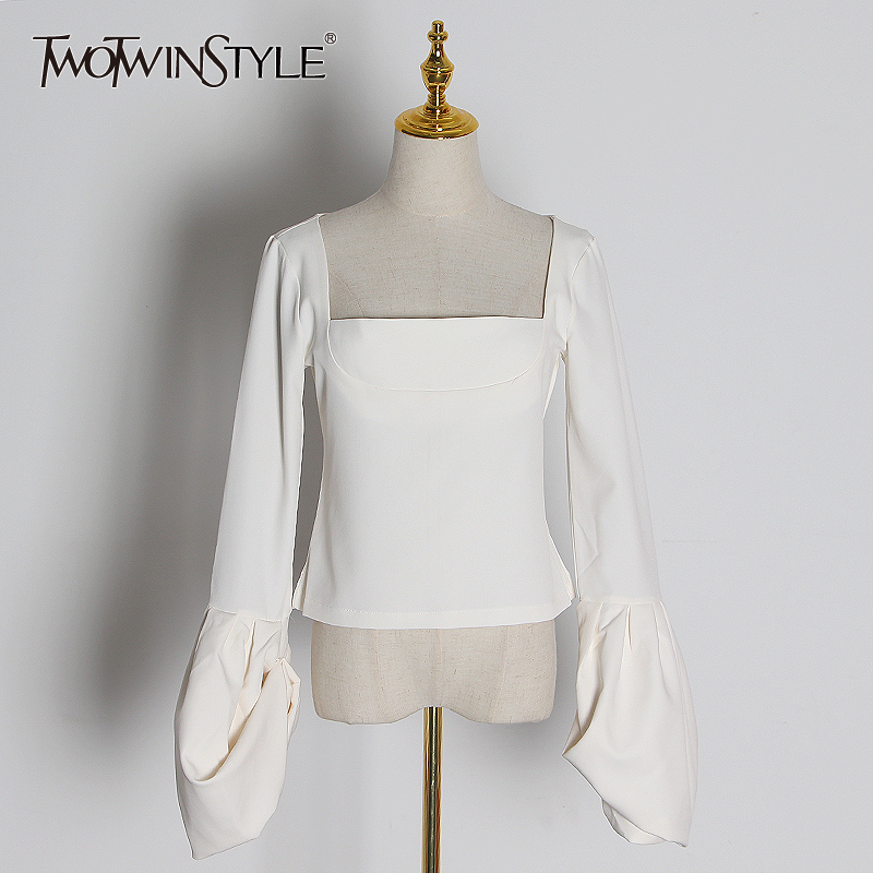 TWOTWINSTYLE Casual Slim T-shirts For Women Square Collar Lantern Long Sleeve Elegant T Shirt Female Fashion 2020 Clothing Tide
