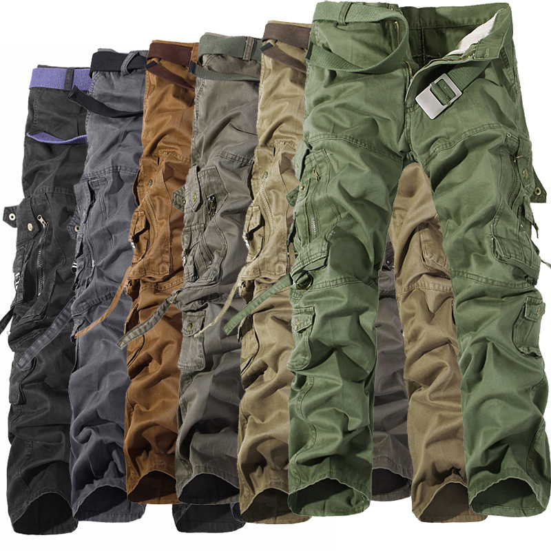 Military Tactical Pants Men Multi Pocket Jogger Cargo Pants Men Baggy Washed Overalls Cargo Pants Knaki Size 28-42