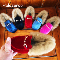 Winter New Kids Fur Shoes Baby Girls Princess Flats Children Warm Brand Shoes Toddler Slip On Black Loafer Fashion Soft Moccasin