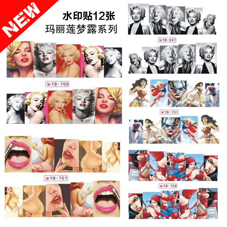 Hot Selling Nail Sticker Marilyn Monroe Nail Sticker Watermarking Adhesive Paper 12 Mixed-Now
