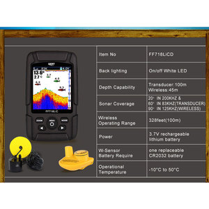 Image 5 - Moniteur portatif chanceux de détecteur de poisson 2 dans 1 200KHz/83KHz double fréquence de Sonar 328ft/100m profondeur de détection écho son FF718LiCD