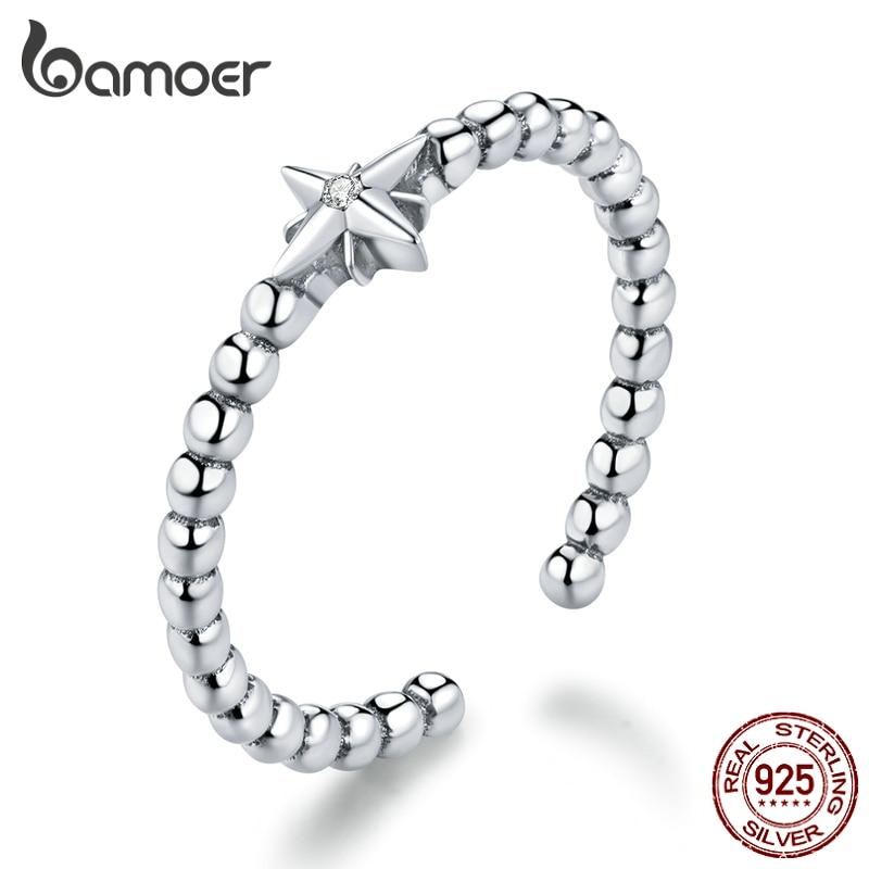 Bamoer 925 пробы серебро стекируемые кольца для Для женщин Регулируемый Открытое кольцо для Размеры 6 7 8 9 корейский стиль ювелирных изделий SCR647