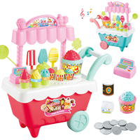 30Pcs 35cm Pretend Play Popcor Ice Cream Candy Trolley Set Toy with Music and Light for Children Green L