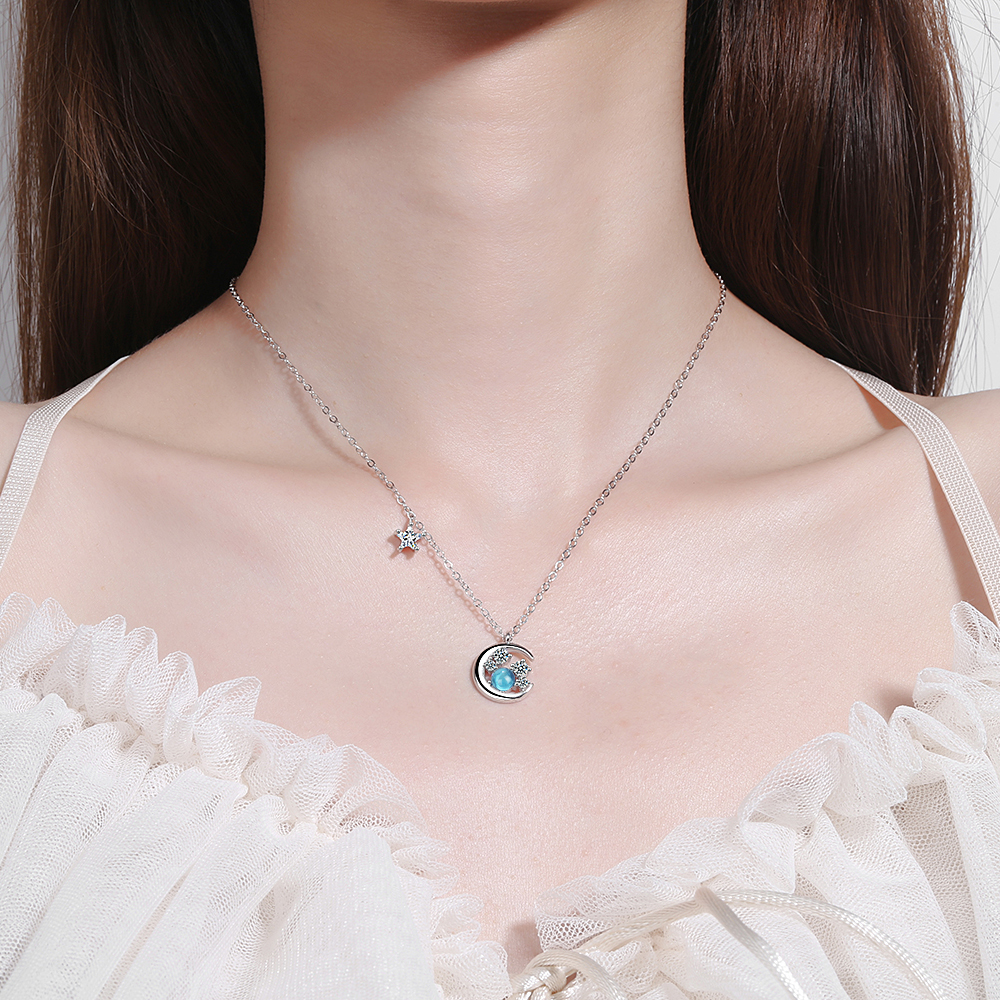 Fashion Charm Women Moon Star Necklace Jewelry 925 Sterling Silver Zirconia Choker Necklaces Pendant For Women Girls Gift Colar