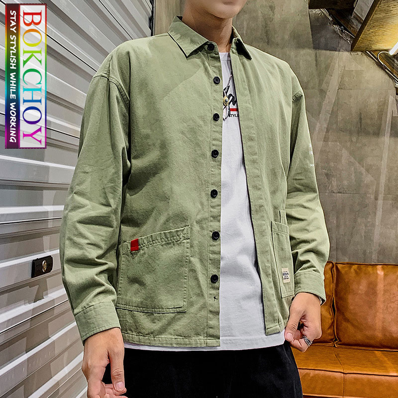 Safari Style Vintage Men Long Sleeve Shirt, 2019New, Solid Color, Cotton, Work Clothes, Bokchoy - Stay Stylish While Working