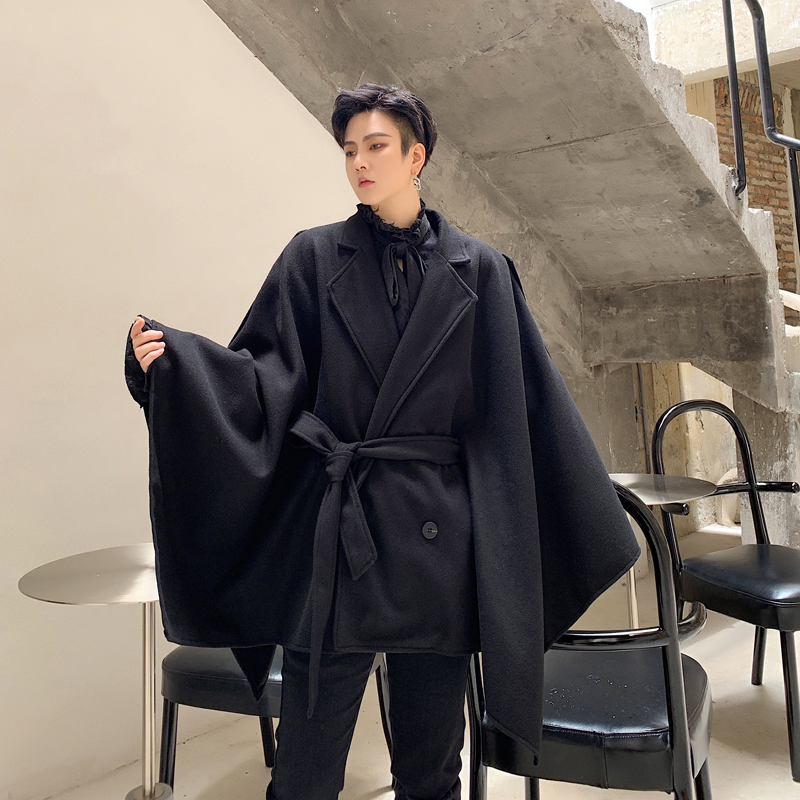 Men Winter Oversize Loose Casual Woolen Cloak Jacket Male Streetwear Vintage Hip Hop Gothic Sashes Outerwear Coat Stage Clothing