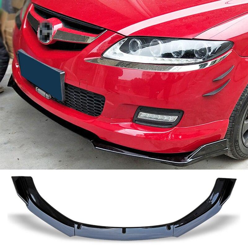 ด้านหน้าสปอยเลอร์กันชนแผ่น Lip ชุดพื้นผิวคาร์บอนรถตกแต่งแถบคางพลั่วสำหรับ Mazda 6 M6 2006 -2015